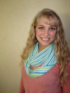 My daughter Emily made a longer scarf that can be looped around the neck twice.